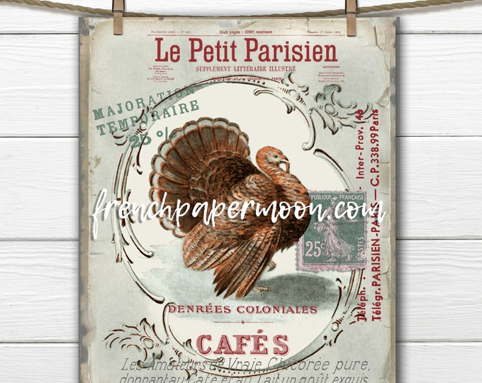 Shabby Thanksgiving Vintage Turkey, French Turkey, Printable Instant Download, French Graphics, French Pillow Image, Holiday Crafts