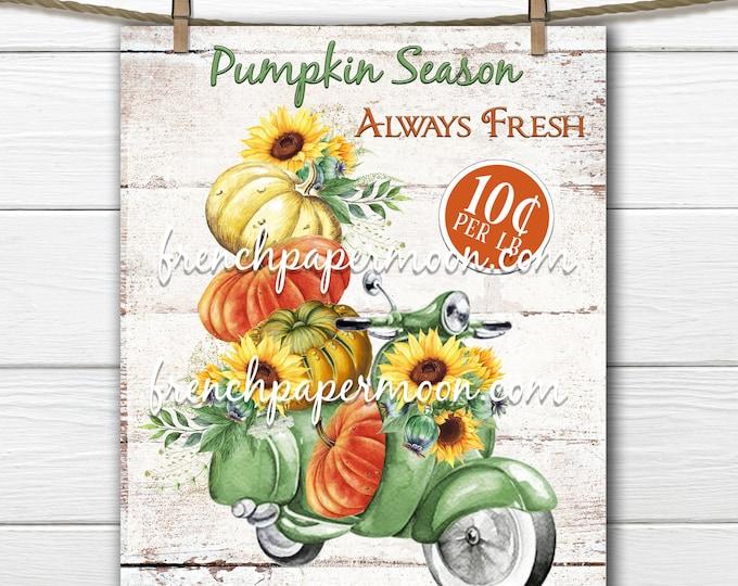 Pumpkin Scooter Digital, Sunflowers, Pumpkin Delivery, Pumpkin Season, Fun Fall Graphic, Pumpkin Pillow Image, Download, Transparent, Wood
