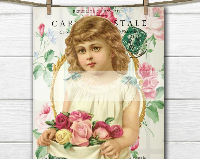 Shabby Chic Vintage Girl with Roses, Adorable Digital Victorian Girl, Digital Postcard with Roses, French Pillow Transfer Graphic Download