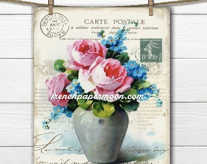 Vintage Digital French Flowers, Shabby Chic Vase of Flowers, Catherine Klein, French Pillow, Home Decor, Digital Print