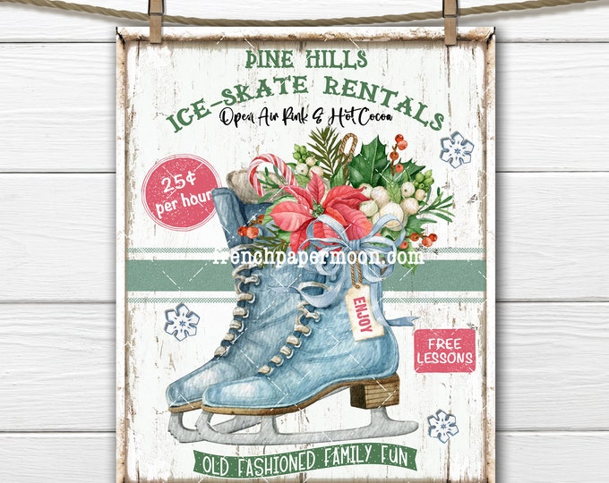 Floral Ice Skates, Winter Digital Sign, Ice-Skates for rent, Wreath Accent, Iron on Fabric, Christmas Crafts, Xmas Home Decor, DIY Xmas