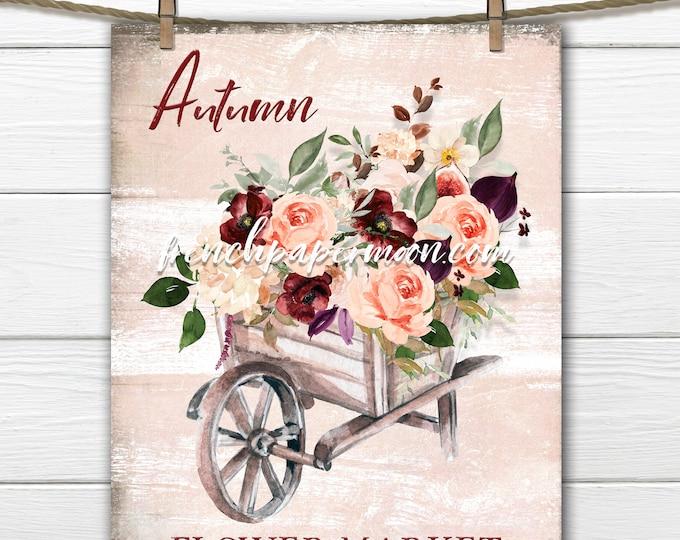 Autumn Flower Market Print, Watercolor Fall Flowers, Wheelbarrow,Pillow Image, Fabric Transfer, Decoupage, Sublimation, Card, Transparent