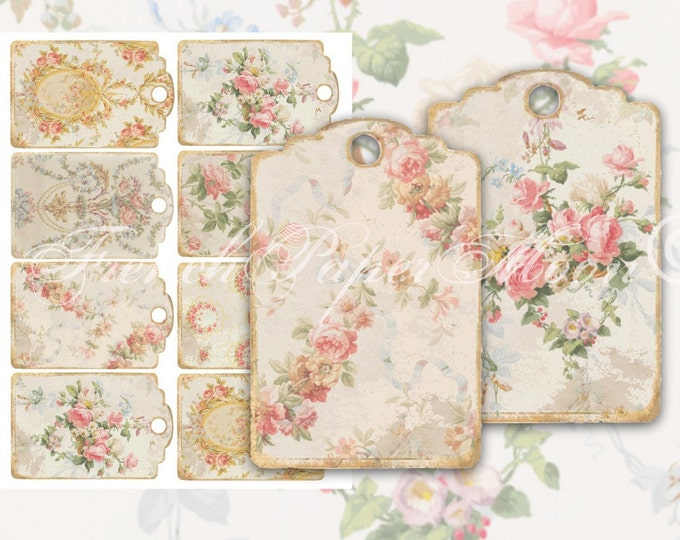 Printable Wallpaper Tags, Digital Download Gift Tags, Floral Wallpaper Tags, Scrapbook Supply, Digital Tags