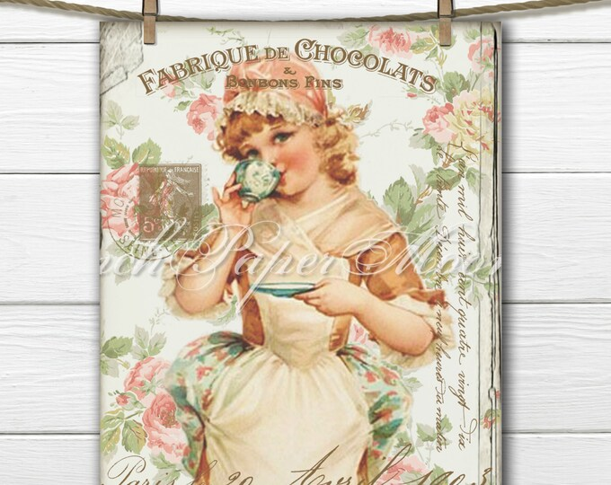 Shabby Victorian Girl, Vintage Tea Digital, French graphics, Teatime Digital Art, Instant Download, French Pillow Transfer