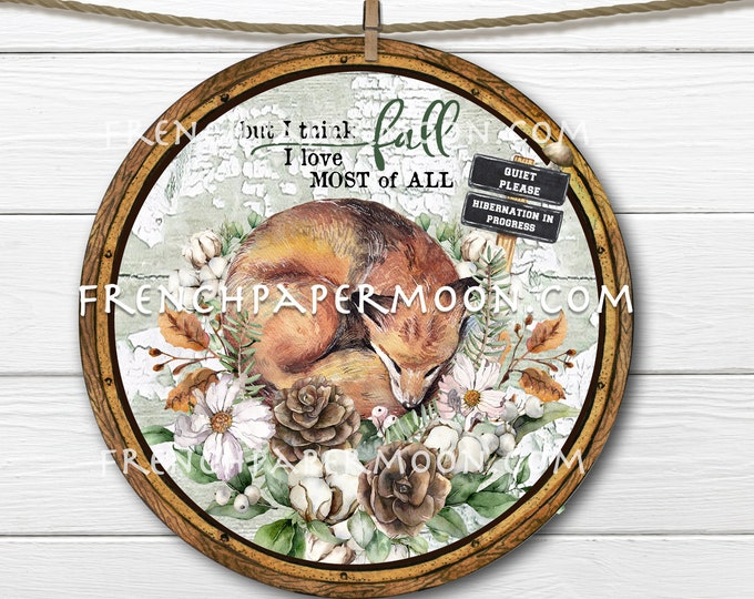 Woodland Fall Fox, Sublimation, Circle, Doorhanger, Wreath Accent, Fabric Transfer, Wood Transfer, Home Crafts, DIY Circle Sign