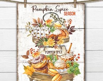 Pumpkin Spice Tiered tray, Digital, Pumpkin Drinks, Pumpkin Pie, Fall Sweets, Decor Sign, Image Transfer, Fabric Transfer, Kitchen Print
