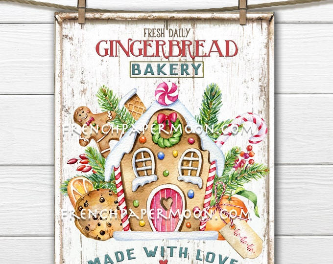Gingerbread Bakery Christmas Sign Gingerbread House Christmas Candy Pink and Green Xmas Sign Pillow Image Wreath Decor Wall Decor PNG