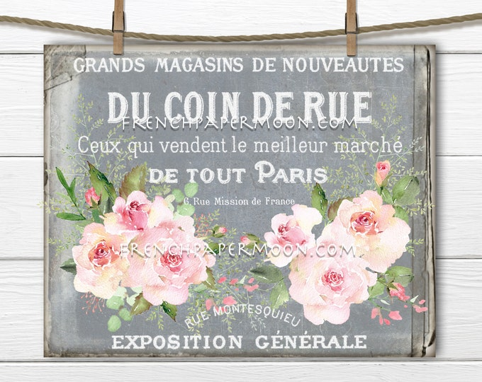 Shabby French Ephemera Roses, Cottage Roses, French Graphic, Image transfer, French Pillow Image, Home Decor, Fabric Transfer, Digital, PNG