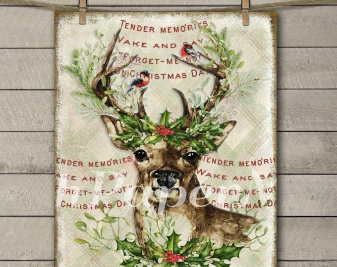 Reindeer Print, Watercolor Reindeer with Christmas Wreath, Reindeer Printable, Vintage Christmas Graphics, Instant Download, Xmas Print