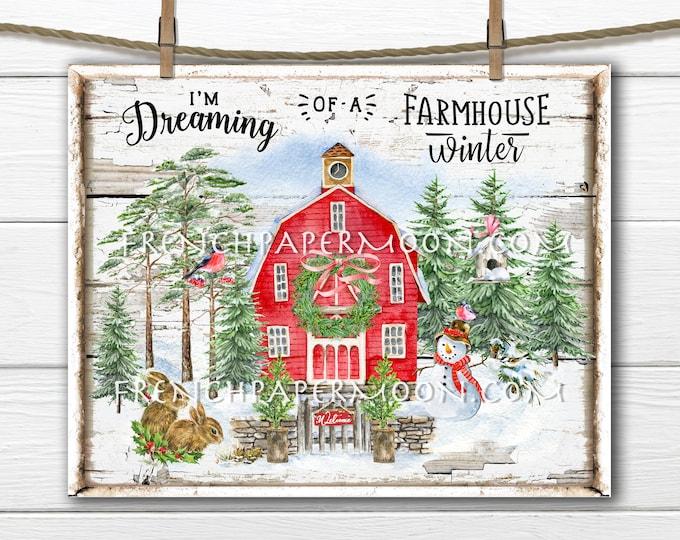 Farmhouse Christmas, Digital, Xmas Barn, Christmas Landscape, Snowman, Snow Scene, Christmas Decor, DIY Xmas Sign, Image Transfer, PNG