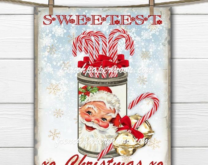 Vintage Santa Christmas Candy Printable, Candy Canes, Snowflakes, Seasons Greetings, Fabric Transfer, Xmas Crafts