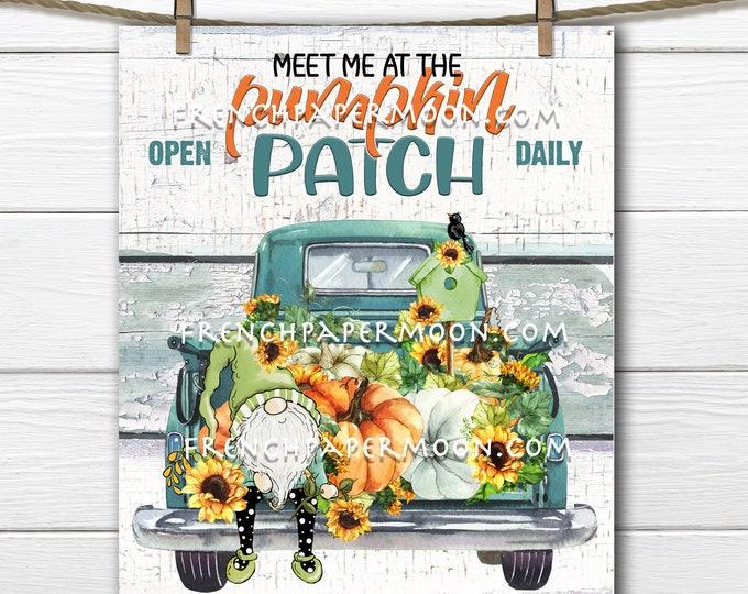 Fall Gnome Truck, Fall Farmhouse, Harvest Truck, Sunflowers, Digital, DIY Sign, Digital Fall Sign, Sublimation Fall Decor PNG