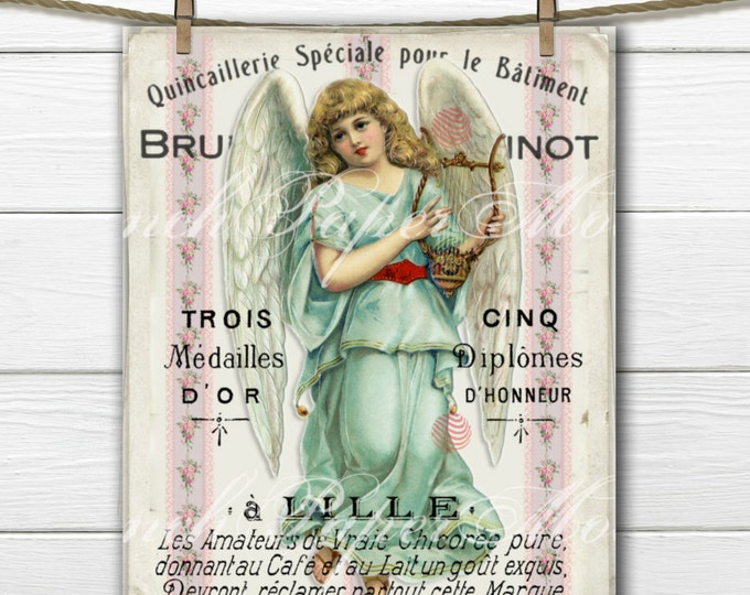 Shabby French Victorian Angel, Vintage Printable Image, French Graphic Angel Download, Victorian Angel Instant Download, Holiday Angel