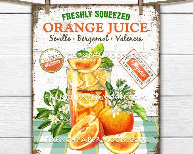 Orange Juice, Farmhouse Kitchen, Farmhouse Wreath Accent Decor Sign, Tiered Tray Juice Sign, Kitchen Wall Art, Digital Print, Image Transfer
