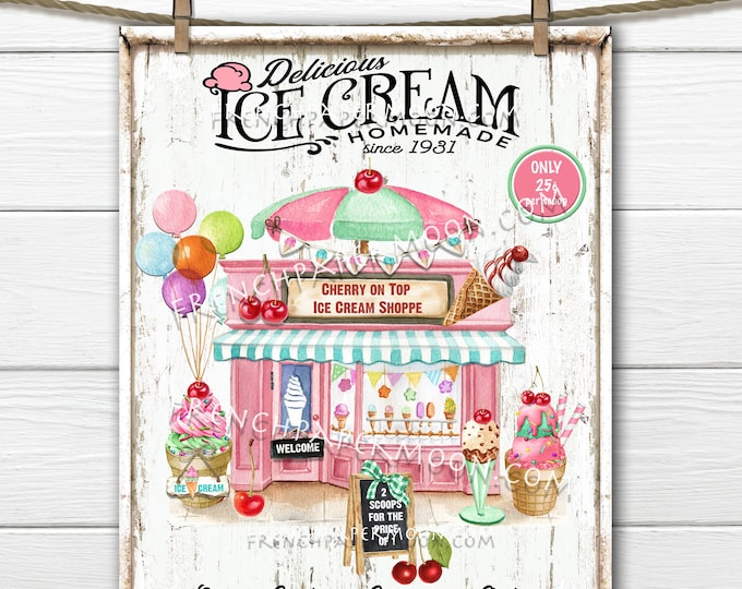 Old fashioned Ice Cream Parlor, Ice Cream Sign, Ice Cream Party, Shop, Pillow Image, DIY Sign, Sublimation, PNG, Wood, Fabric Transfer