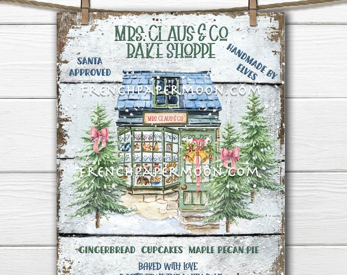 Retro Christmas Bakery, Mrs Claus Bake Shop, Christmas Bakery Sign, Christmas Village, Wreath Attachment, DIY Xmas Sign, Pillow Image, PNG
