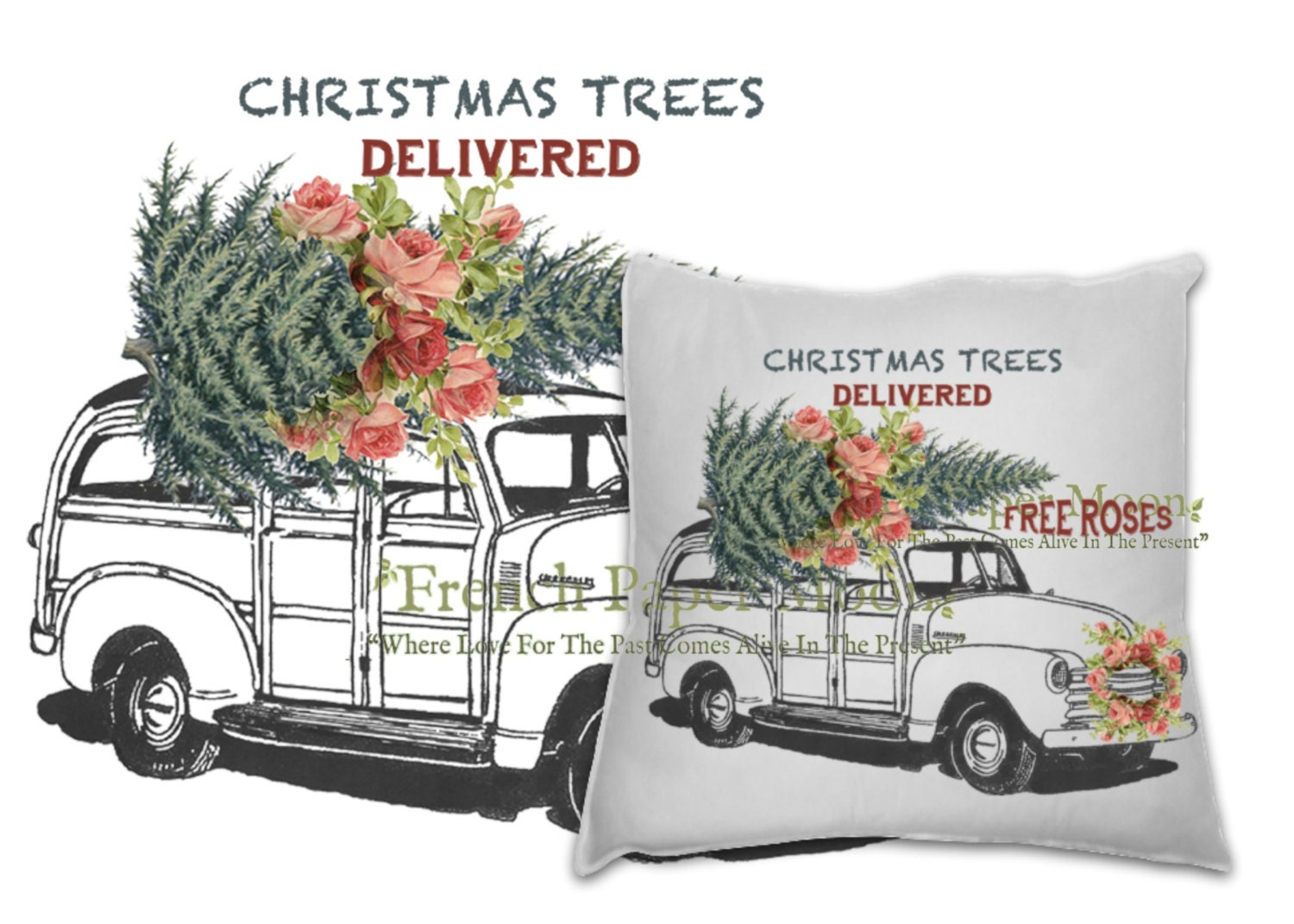 Vintage Digital Shabby Chic Christmas Car with Tree and Roses, Xmas ...