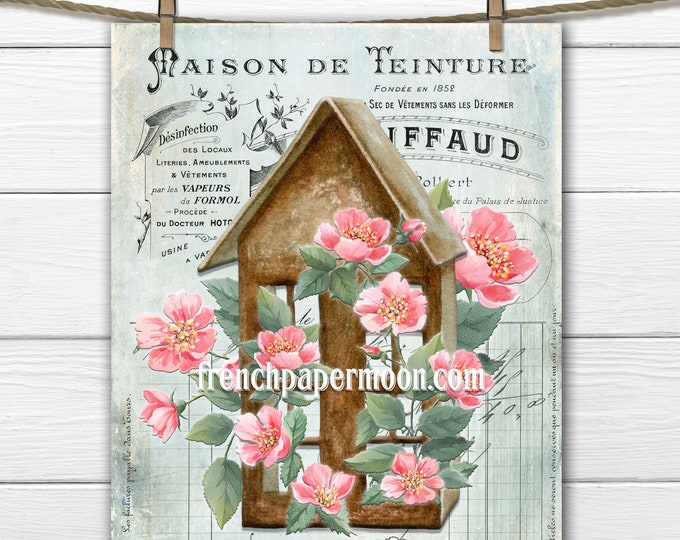 French Rose Cottage, French Garden Graphic, Shabby Roses, Birdhouse, Wild Roses, French Ephemera, Pillow Image, Transparent, Large Size
