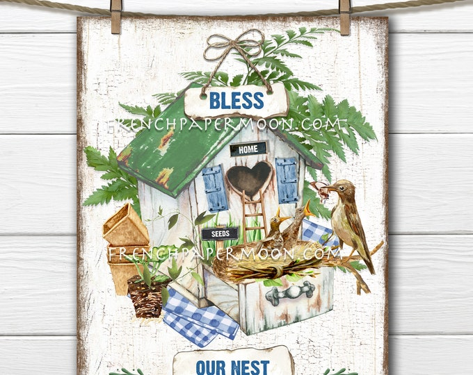 Bless our Nest, Digital, Birdhouse, Baby Birds, Nest Birds, New Home, Fabric Transfer, Woodworking, Wreath Decor, Pillow Image, Sublimation