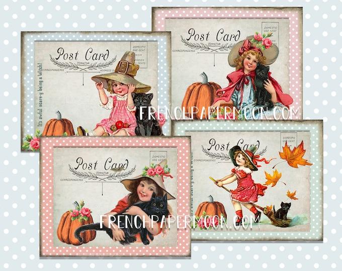 Vintage Halloween Digital Postcard Printable, Black Cat Digital Art Mail, Digital Stories, Victorian Girl, Old, Fashioned Halloween, Crafts