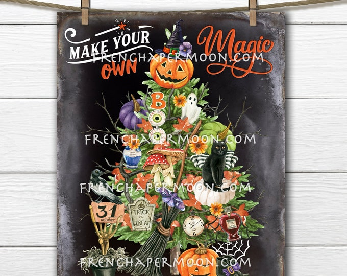 Halloween Tree, Spooky, Halloween Decor, Black Cat, Digital Image, Fabric Transfer, Decor Sign, Sublimation, PNG, Image Transfer, PNG