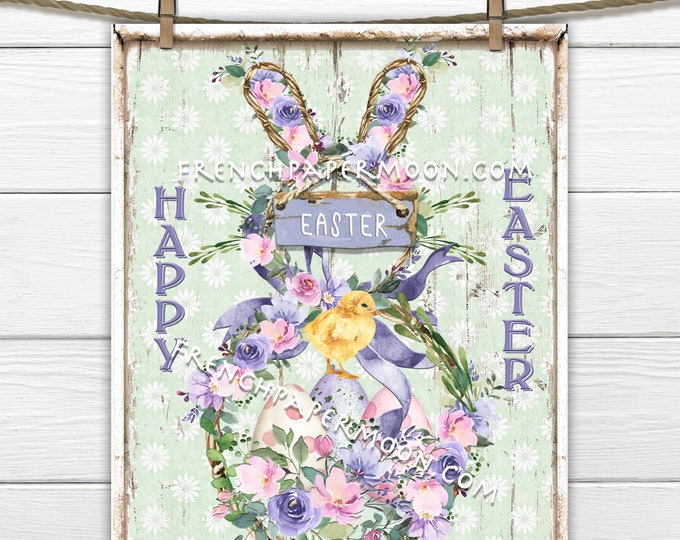 LIMITED EDITION, Shabby Floral Easter Bunny, Wreath, Easter Chick, Easter Eggs, DIY Easter Sign, Wreath Decor, Sublimation, Pillow Image