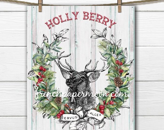 Digital Christmas Reindeer Wreath, Holly Berry, DIY Christmas Pillow Image, Xmas Sign, Vintage Reindeer Illustration, Fabric Transfer