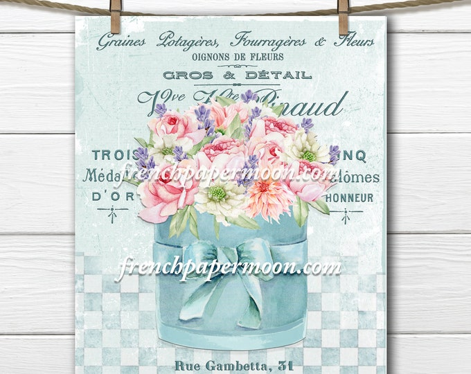 Shabby Flower Hatbox, Aqua, French Bouquet Graphic, Digital Watercolor Flowers, Pastel, French Pillow Image, Fabric Transfer, Printable, PNG