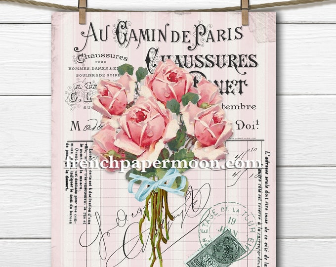 Printable shabby pink vintage roses rose bouquet french graphic pillow image graphic transfer digital