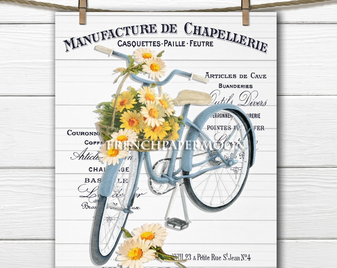 Digital French Shabby Bicycle with Daisies, Daisy Bike, Bike Basket, Printable Bike Graphic, Large Image Transfer Graphic