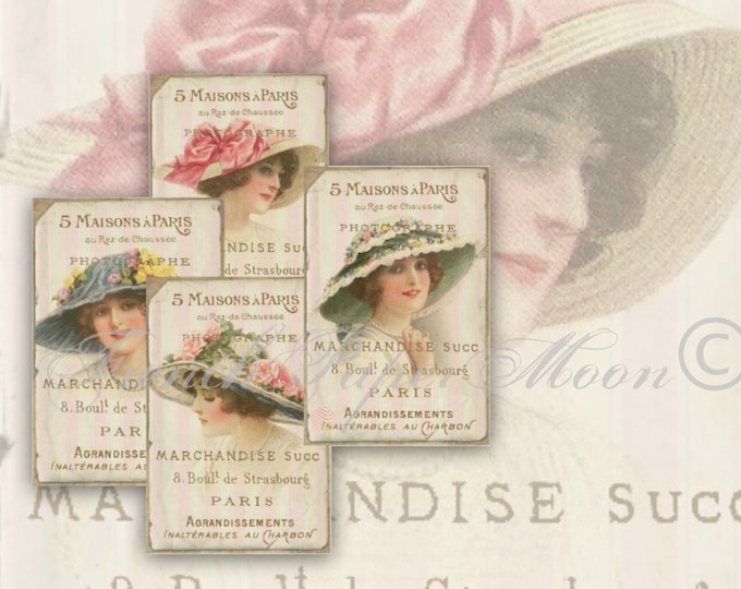 Shabby Digital Victorian Women Collage Sheet, Hat ladies, Printable French Typography Tags