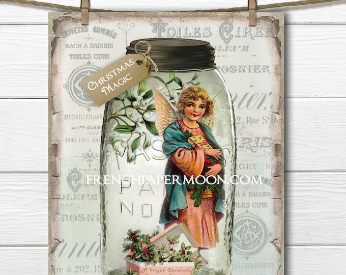 Shabby Mason Jar Christmas Printable, Christmas Magic, Vintage Angel, Mistletoe, Christmas Decor, Craft Digital