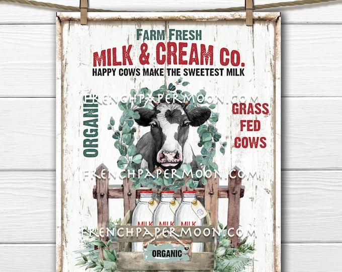 Farm Fresh Milk and Cream Cow Dairy Sign Modern Farmhouse Kitchen Wall Art Farm Style Wreath Decor Making Transfer Digital Print