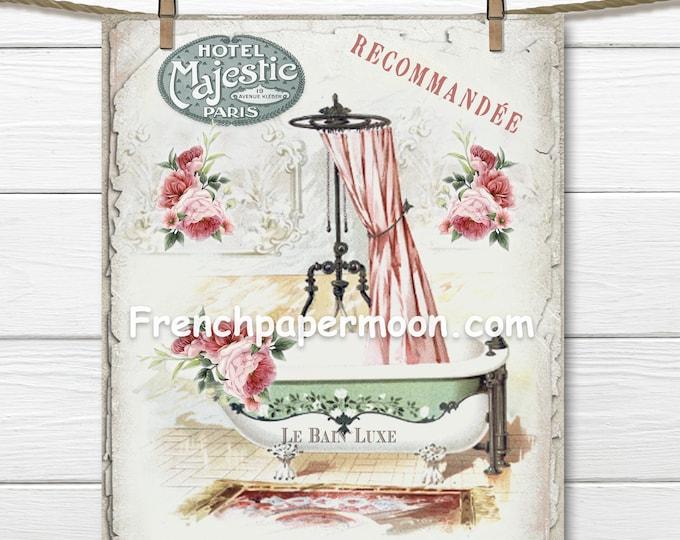 Victorian Bathtub, French Bathroom Printable, Vintage Shabby Flower Bathtub Print, Instant Download Bathroom Print, Bath Graphic Transfer