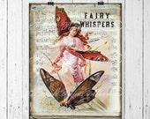 Vintage Digital Fairy , Vintage Fall Fairy, Vintage Autumn Fairy, Shabby Fairy Instant Download Printable, Girls Room