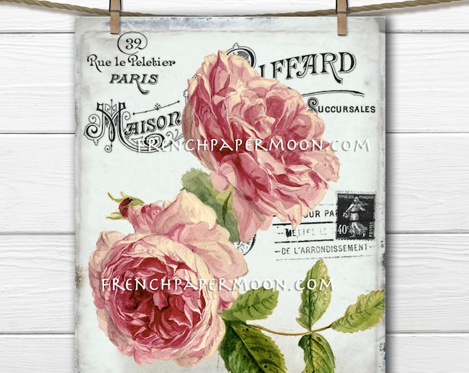 French Shabby Victorian Roses, Antique Pink Roses, Digital French Rose Graphic, Ephemera, Postcard, French Pillow Image, PNG