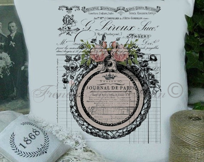 Digital French Pillow Image, Shabby French Printable, Digital Pink Roses, Vintage Frame, Journal De Paris, French Pillow Image
