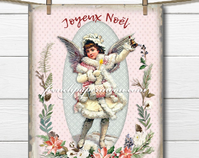 Shabby Vintage Christmas Angel Digital, Victorian Girl, Xmas Pillow Image, Crafts, Iron on Fabric, Graphic Transfer, Large Size