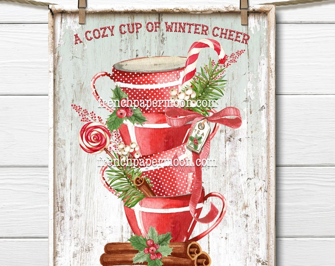 Christmas Tea Digital, Xmas teacups, Christmas Treats, Sweets, Tiered Cups, Stacked Cups, Cozy Tea, Pillow Image, DIY Xmas Sign, Wood, PNG