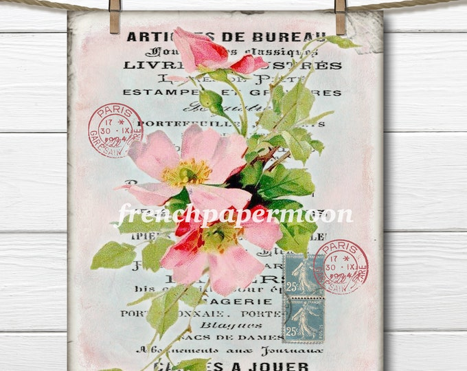 Shabby Chic Digital Roses, French Rose Download, French Rose Collage Sheet, French Pillow Transfer Graphic