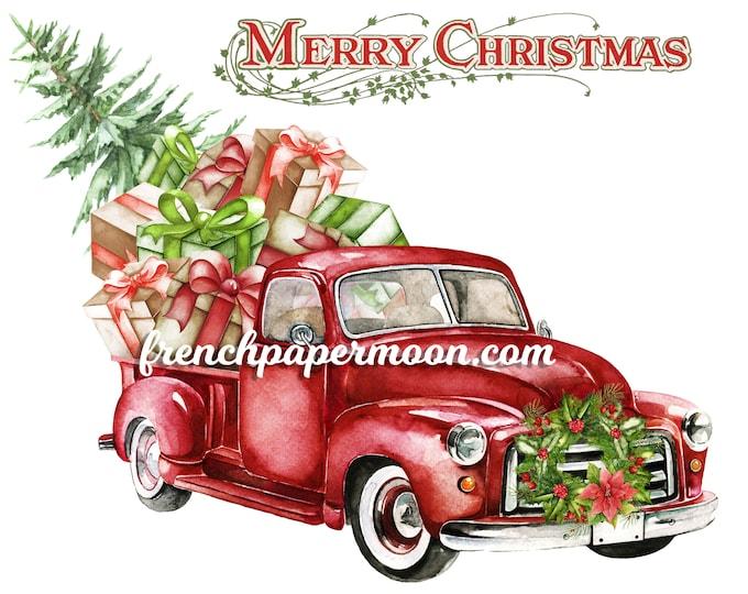 Red Christmas Truck Digital, Presents, Christmas Tree Pickup, Xmas Christmas Pillow, Fabric Transfer, Iron On Fabric, DIY Christmas Crafts