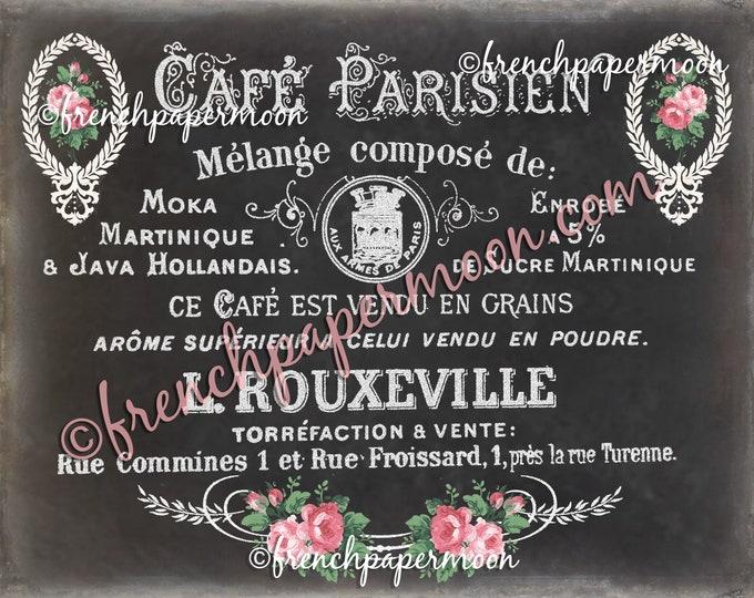Chalkboard French Cafe, Shabby Vintage Roses, French Kitchen Sign Print, Vintage Cafe Typography, Digital Image, Large Size, Image Transfer