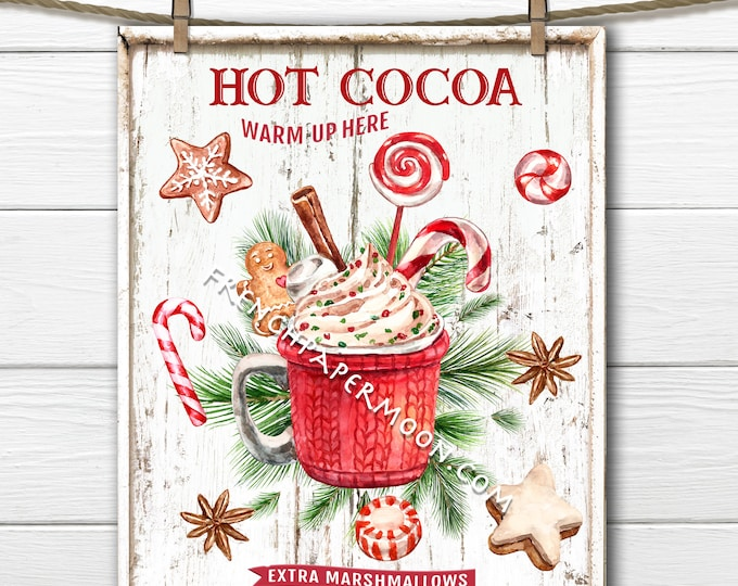 Hot Chocolate Christmas Sign Digital, Christmas Cookies, Red Mug, Winter Drinks, DIY Xmas Plaque, Pillow Image, Xmas Wall Decor, Transparent