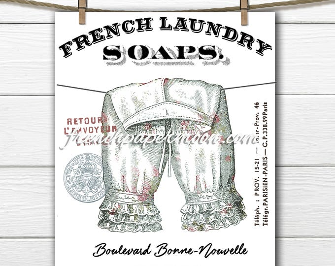 French Laundry Graphic, Digital Shabby, Pantaloons, Victorian Bloomers, Laundry Room Print, Clothes-line, Digital Download, Fabric Transfer