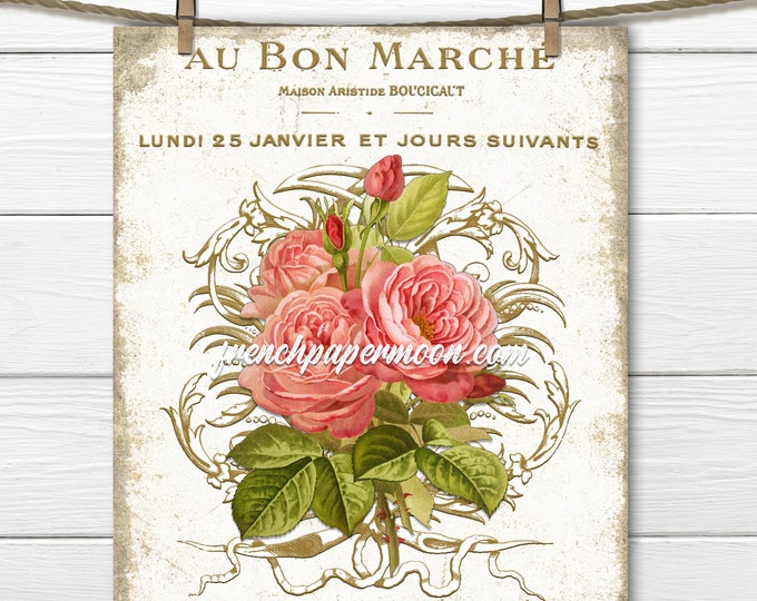 Shabby Victorian Rose Printable, French Rose Fabric Transfer, Pillow Image, Antique French Ephemera, Transparent, Decoupage, Sewing