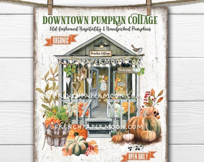 Autumn Farmhouse, Pumpkin Cottage, Country Cottage, Rustic Pumpkins,  Decor Sign, Wreath Accent, Sublimation, Image Transfer, Digital
