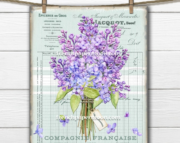 French LILACS Printable, Vintage-style Lilacs, Floral Bouquet, French Pillow Image, Transparent, Large Image, Transfer Graphic