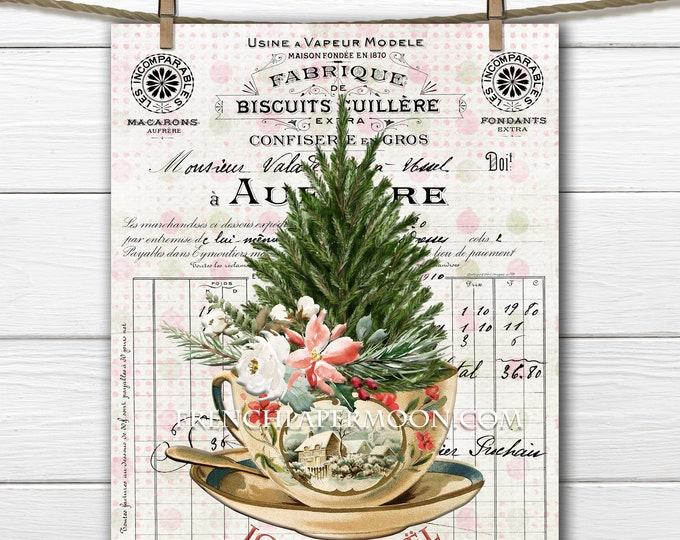 Christmas Teacup Digital Print, Xmas Greens, French Christmas Graphic, Pillow Image, Mini Christmas Tree, Sublimation, Craft Supply