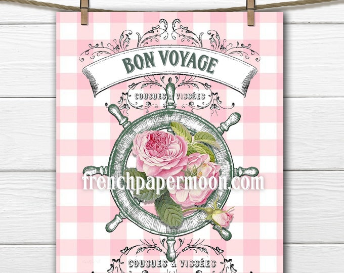 Shabby Pink Nautical Rose Printable, Ship Wheel, French-inspired, French-style Graphic, Summer, Pillow Image, Instant Download, Crafts
