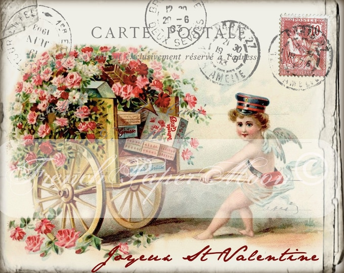 Shabby Joyeux St Valentine, French Valentine Postcard, Cherub with Cart, French Pillow Image, French-Country,  Cottage Decor, PNG